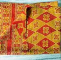 Red And Yellow Vintage Kantha Quilt