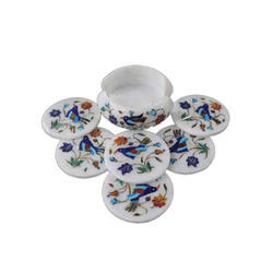 Marble Inlay Decorative Coaster Set
