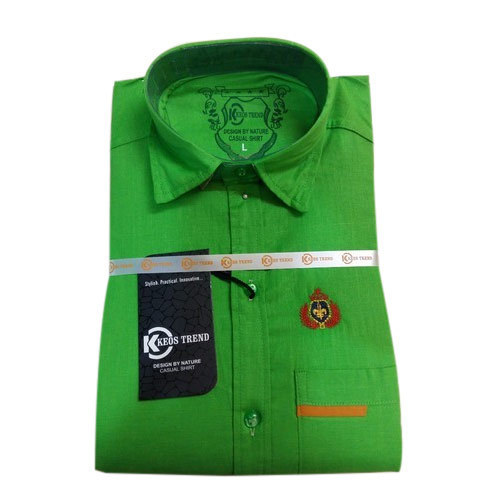 Cotton Keos Trend Mens Green Casual Shirt, Size: L