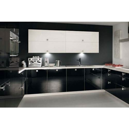 Black Black Modular Kitchen