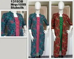 Silk Printed Jacket Kurta