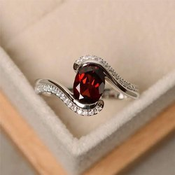 Red Gemstone Diamond Ring