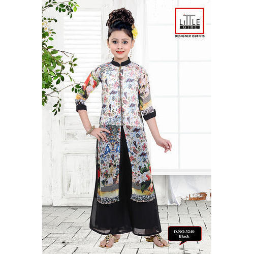 32d5295397 Girls Black Printed Palazzo Suit, Rs 900 /piece, Little Girl | ID ...