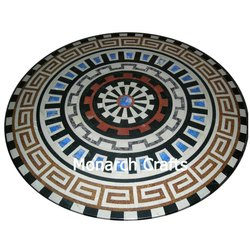 Round Marble Carved Center Tables