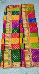 Block Print Party Wear Printed Silk Sarees, Machine Made, 5.5 m (separate blouse piece)