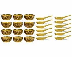 Ceramic Handmade Brown Sehra Soup Bowl with Spoon (Set of 12) for Home