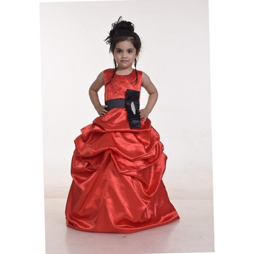 16e39f743 Satin Also Available In Velvet And Chiffon Party Wear Baby Maroon Designer  Gown