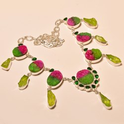 Wholesale Fashion Jewelry Sugar Druzy With Crystal Gemstone Women Necklace