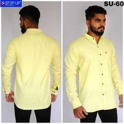 Mens Cotton Yellow Casual Shirt