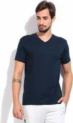 Black Cotton V Neck Plain T Shirt
