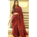 Maroon Zig Zag Printed Chanderi Silk Saree