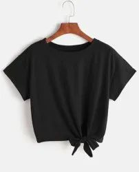 Ladies Dark Grey Round Neck T Shirt Crop Top