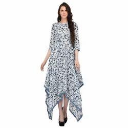 Chiffon Printed Ladies Western Dress