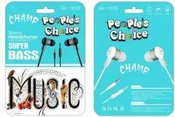 People's Choice Mobile Mini Stereo Earphone, Headphone Jack: 3.5 Mm Jack, Model Name/Number: Gk 101