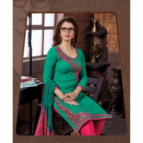 daf840aedf 3/4 Sleeve U Neck Ladies Party Wear Unstitched Banarasi Silk Suit ...