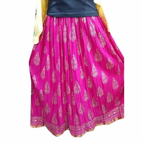 Casual Wear Printed Ladies Rayon Long Skirt
