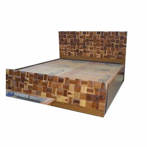 Teak Wood Design Double Bed With Storage Warranty 10
