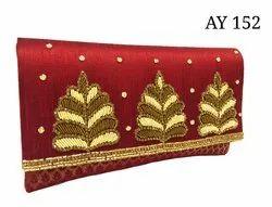 Weddings Ladies Ethnic Brocade And Rawsilk Embroidered Purse Ay152
