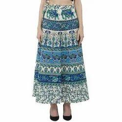 Skavij Casual Wear Full Length Elastic Waisted Long Ladies Printed Skirt