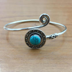 925 Sterling Silver Jewelry Turquoise Stone Bangle