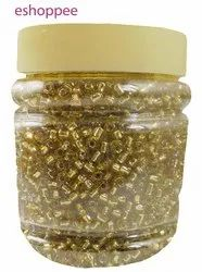 eshoppee 8/0 3mm 200 gm Golden Color Pot Glass Seed Beads
