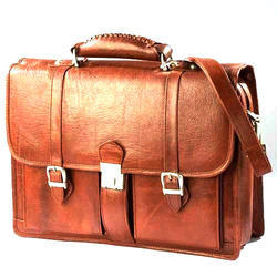 Brown Rectangle Leather Carry Bag