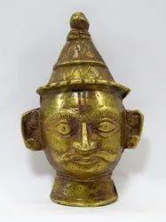 Old Collective Antique Indian Ritual Brass God Shiva Head Mukhalingam.G53-226