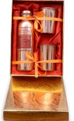Pure Copper Golden Box Gift Set_ Bottle With Two Glass Set.