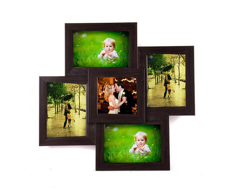 Wens 5 Picture Mdf Photo Frame 17 Inch X 17 Inch Brown Mdf