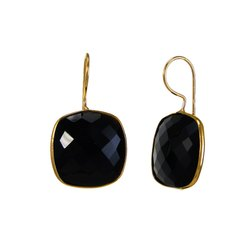 Black Onyx Cushion Shape Bezel Set Earrings