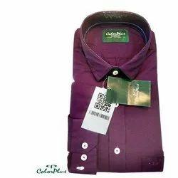 Collar Neck Full Sleeve Color Plus Mens Cotton Plain Shirt, Size: 38 to 44