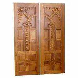 Brown Teak Wood Carved Double Door