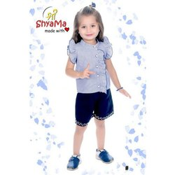 Shri Shyama Round Kids Blue Frill Top With Shorts Cotton Dress