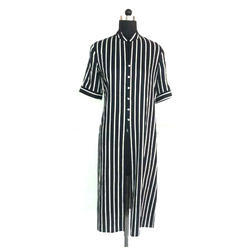 Ladies Black Front Slit Long Tunic Top
