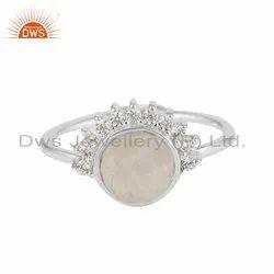 CZ Rainbow Moonstone Rising Sun Design Silver Ring Jewelry