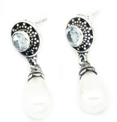 Blue Topaz with Pearl Sterling Silver India Earrings