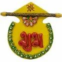 Wooden Paper Mache Shubh-Labh With Kundan Work