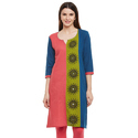 Cotton 3/4th Sleeve Printed Kurti, Size: S, M & L