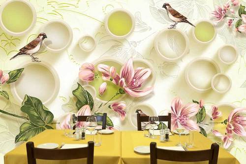 Multi Color Vinyl Non Woven 3D Wallpaper For Walls With Sparrow And Flower Size