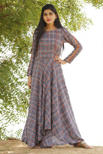 491f0b624df Rayon 3 4th Sleeve Printed Party Wear Gown Style Kurtis