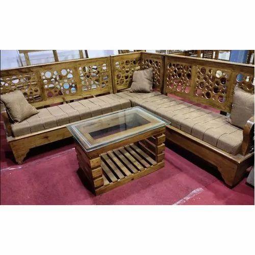 L Shape Brown Teak Wood Corner Sofa Set, Teak Wood Corner Sofa Set Designs Pictures