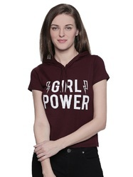 100% Cotton Women's Half Sleeve Burgundy Colour T-Shirt