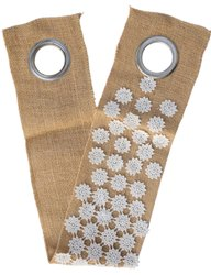 BY FLUKE NATURAL JUTE AND WHITE FLOWERS Curtain Belt, Shape: Straight, Size: 30 Cm