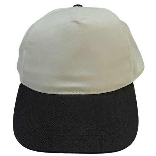 White and Black 100% Polyester 5 Panel Promotional Cap