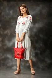 Sky Blue Color Hand Embroidered Rayon Dobby Long Kurtis