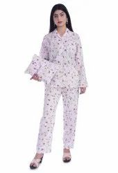 Female Full Sleeve Women's Cotton Night Suit Set with Bag