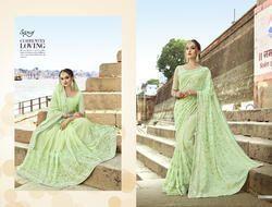 Fancy Party Greenish Designer Saree