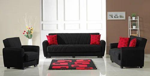 Black Designer Fabric Sofa Set, Sathya Corporation | ID: 10436678748