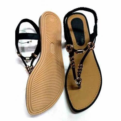 Ladies Rexine Black Sandal, Size: 9, 10