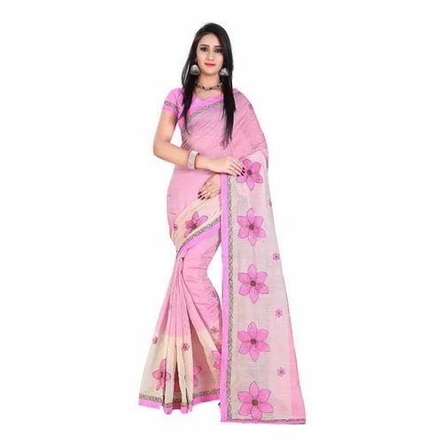 c16b16c5f3 Chanderi Cotton Saree - Embroidered Chanderi Cotton Saree ...